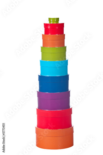 Tower of gift boxes, isolated on white background. Shallow DOF