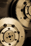 Industrial gears detail. Mechanic concept background poster
