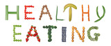 Healthy eating spelled out in fruits and vegetables.  poster