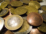 Close-up of several eurocoins poster