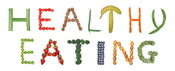 Healthy eating spelled out in fruits and vegetables.