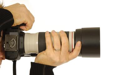 Photograper holding camera.