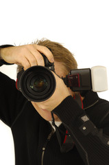 Photographer with camera and flash.