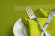 roleta: An elegant holiday table setting with fork, knife and napkin
