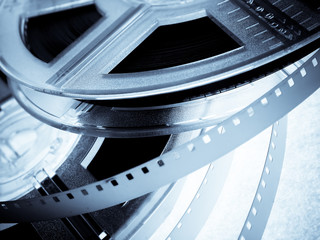 Blue Film reels closeup