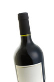 Isolated red wine bottle with over a white background