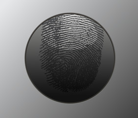 Button with fingerprint.Vector illustration
