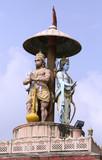 statue of lord Ram and hanuman, rishikesh, india poster