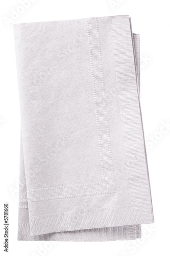 Leinwandbild Motiv Clipping path included. Stack of two white napkins.