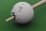 Old billiard ball punched cue. 3D image. poster