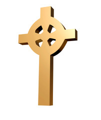Traditional cross in gold and 3D for Easter