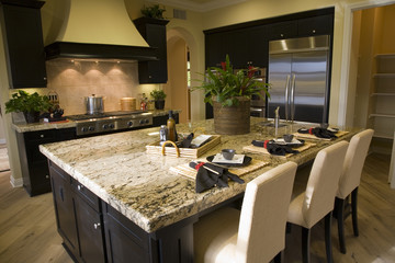 Spacious kitchen with an island.
