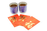 Chinese  prosperity tea cups and red packets  poster