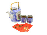 Chinese prosperity tea set and red packets  poster