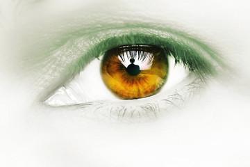 female eye, thirty something, cross processed.