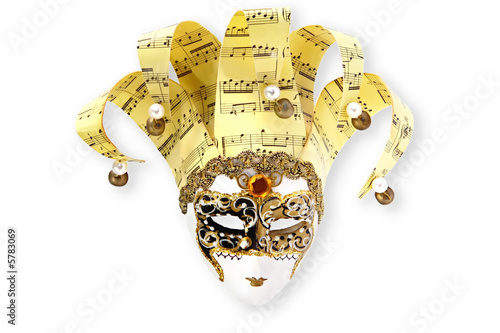 Golden Venetian Mask, on white with soft shadow.