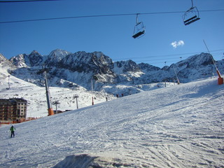 The mounting skiing resort  in Andorra in the winter.