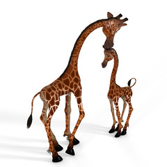 Rendered Image of a really cute giraffe.- with Clipping Path