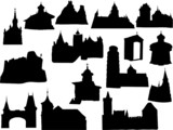Silhouette of historic buildings poster