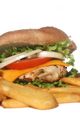 Chicken Burger and French Fries