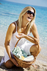 happy woman going for a relaxing time at the beach