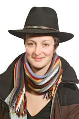 Frauenportrait  mit Mantel und Hut