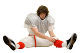 American football player. Adjusting uniform while stretching. poster
