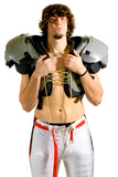 American football player. Shirtless holding shoulder pads. poster