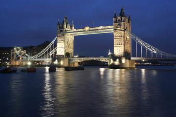 Tower Bridge in London in the evening with reflection