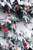 Christmas ornaments handing on snow covered spruce tree outside poster