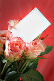 Roses with blank visiting card for your own text poster