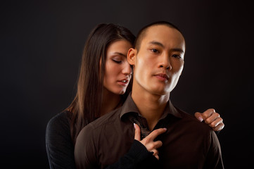 Fashion Couple Dramatic image shot in studio