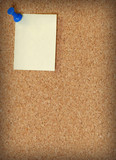 cork board with note attached with thumb tack poster