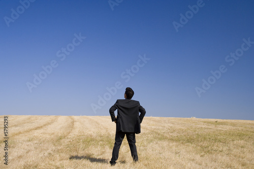 Businessman looking to the future in a field