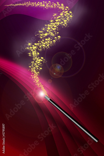 Magic Wand on dark red background with stars