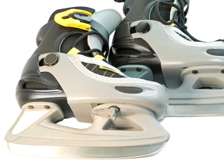 close-up of children skates pair isolated over white