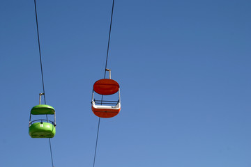 Gondolas over a Northern California amusement park