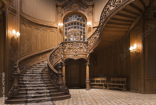 Keuken foto achterwand Trappen Stairs in the Lviv ancient casino