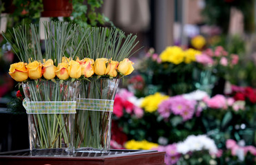 Roses at a Flower Stand