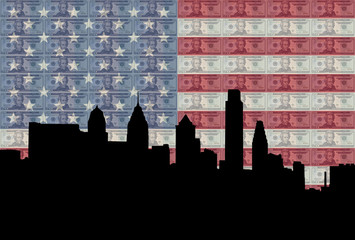Philadelphia with flag and cash