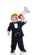 Little man, dwarf construction supervisor with megaphone,