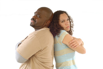 Couple facing relationship difficulties, back to back