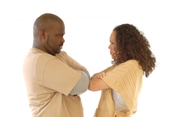 Stubborn couple facing relationship difficulties