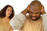 Man shutting his ears and not listening to nagging