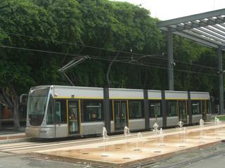 Tram at tram stop