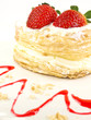 Cake of strawberries with cream and puff-pastry