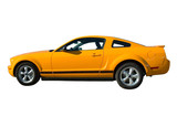 Brand new yellow mustang on isolated white background. poster