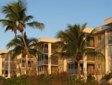 beautiful condo complex on the Florida beach poster