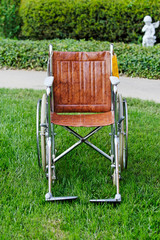 Wheelchair outside on grass