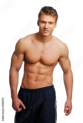 Sport and health body of young man. Isolated on white.